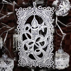 NEW Lace CANDLE Ornament, Flat